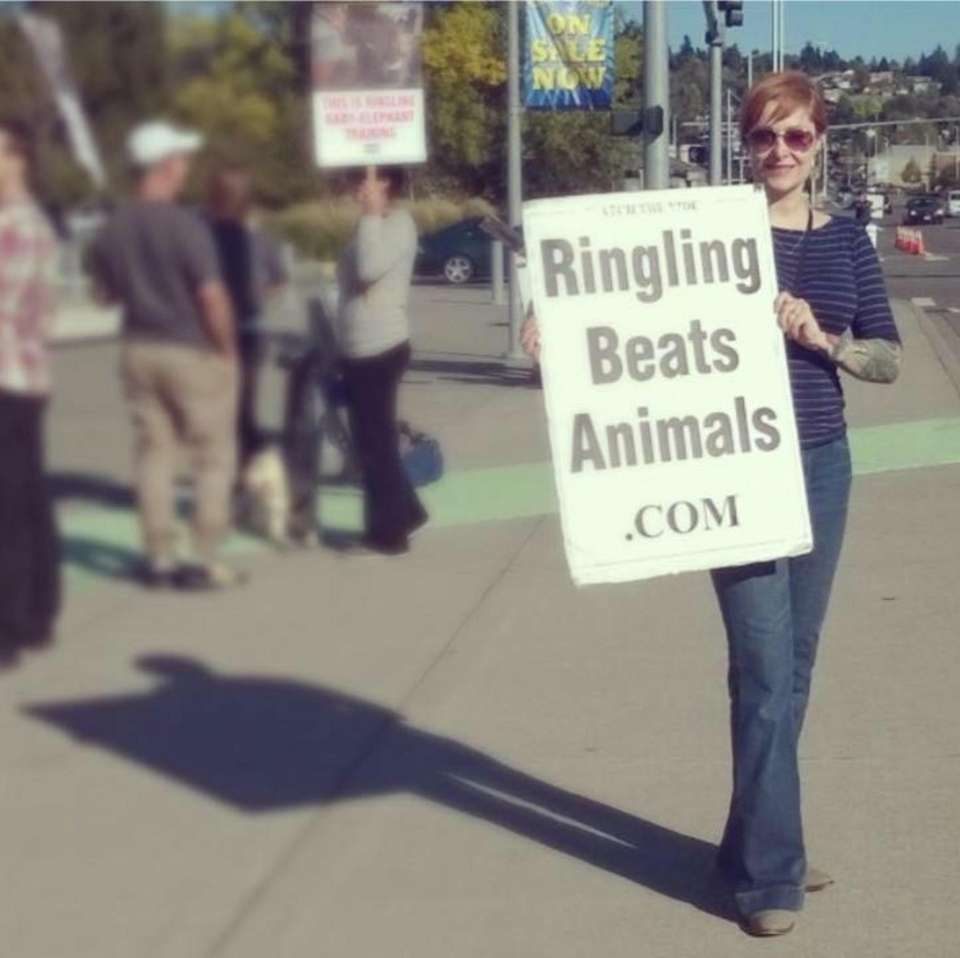 Jean White at a circus protest in 2015