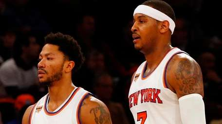 Derrick Rose and Carmelo Anthony of the New