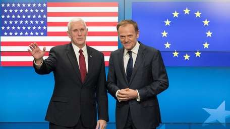 Vice President Mike Pence and EU President Donald