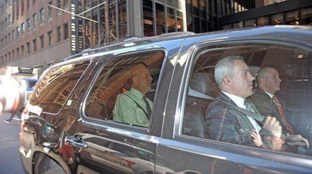 Mayor Bill de Blasio arrives at the midtown