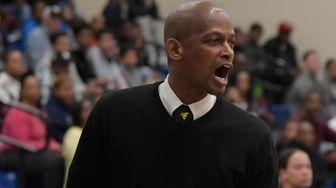 Bridgehampton's head coach Carl Johnson reacts to a
