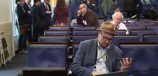 New York Times reporter Glenn Thrush works in