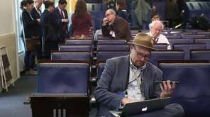 New York Times reporter Glenn Thrush works in