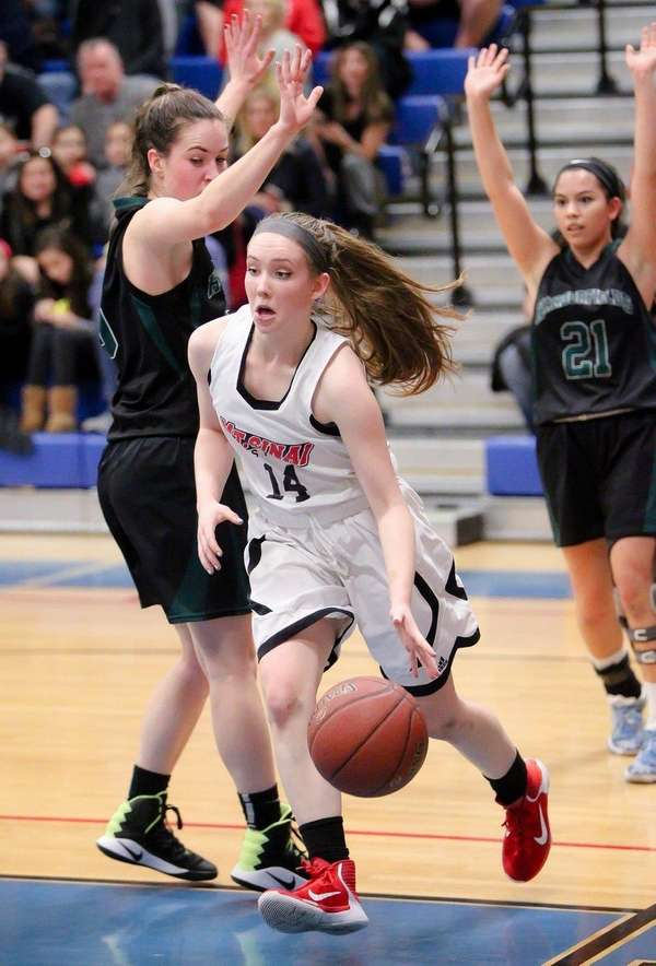 Mt. Sinai's Victoria Johnson gets inside against Harborfields'