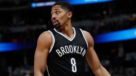Brooklyn Nets guard Spencer Dinwiddie looks for a