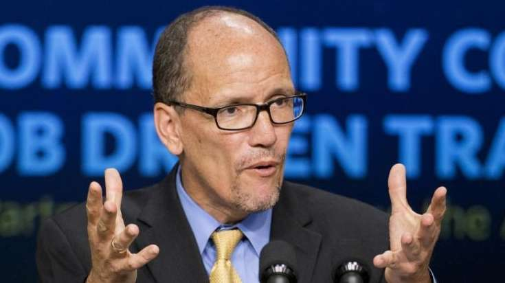 Then-Labor Secretary Tom Perez speaks in the South