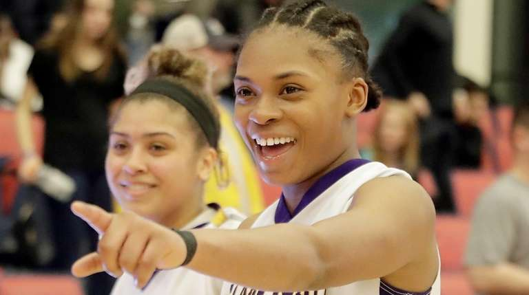 Central Islip's Chanel Taylor (24) and Anhya Jenkins