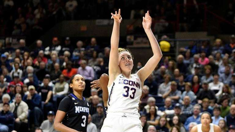 Connecticut's Katie Lou Samuelson scores during the first