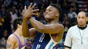 Long Beach's Jacori Teemer celebrates his win over