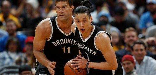 Brooklyn Nets guard Jeremy Lin, front picks up