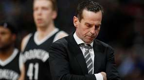 Brooklyn Nets head coach Kenny Atkinson paces in