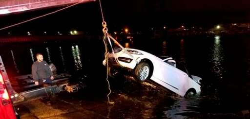 A car that plunged into the Saugatuck River
