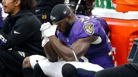 Baltimore Ravens safetyMatt Elam sits on the bench