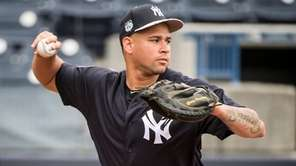 New York Yankees catcher Gary Sanchez makes a throw