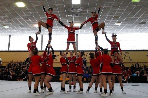 Plainedge cheerleaders perform during championship on Feb. 26,