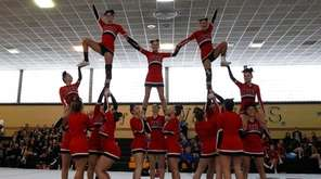 Plainedge cheerleaders perform during championship on Feb. 26,