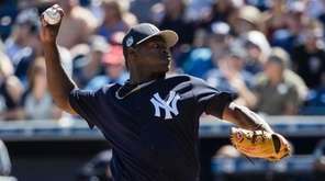 New York Yankees pitcher Luis Severino throws during