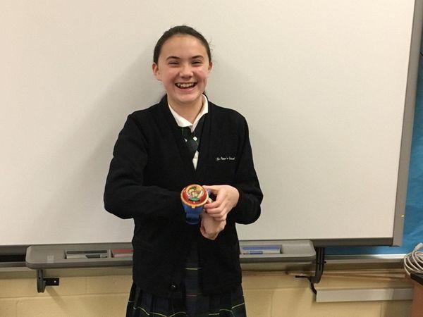 Kidsday reporter Grace Carolan wears her Yo-kai Model