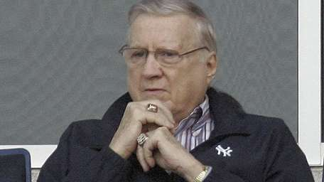 New York Yankees owner George Steinbrenner watch as