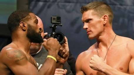UFC welterweight champion Tyron Woodley, left, and Stephen