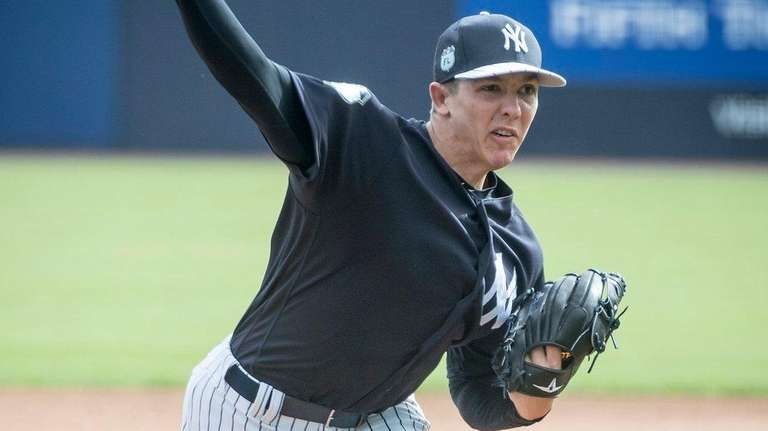 New York Yankees pitcher Chad Green throws from