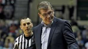 Connecticut head coach Geno Auriemma gestures as he