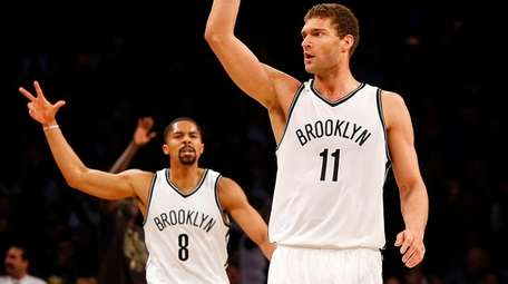 Brook Lopez, #11, of the Brooklyn Nets reacts