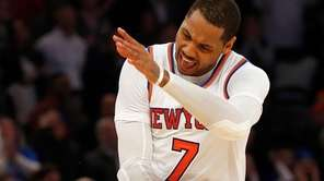 Carmelo Anthony, #7, of the New York Knicks