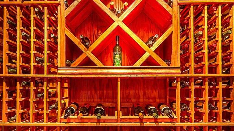 This Center Moriches Colonial's wine storage has room