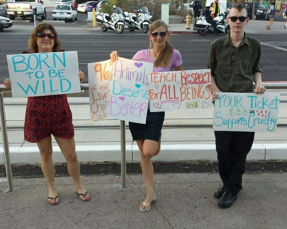 Pamela, Monica, and Josh at Ringling Bros. protest