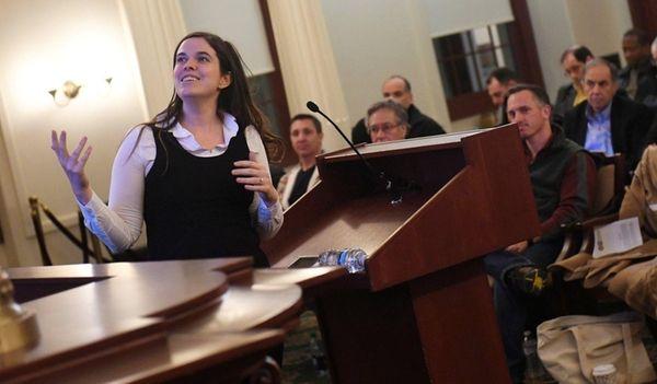 Indiegogo executive Sarah Meister speaks to members of
