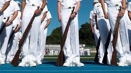 U.S. Merchant Marine Academy Plebe candidates stand during