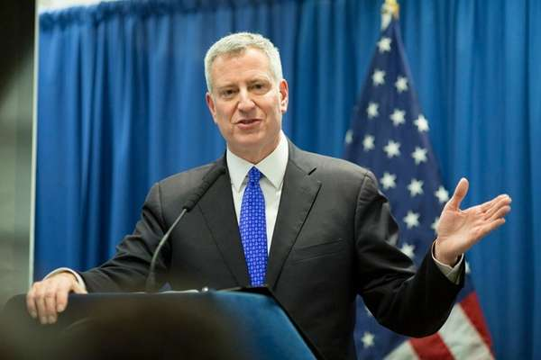 Mayor Bill de Blasio speaks about his plan