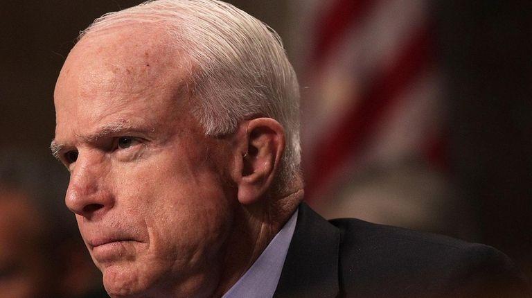 Sen. John McCain (R-Ariz.) during a hearing before