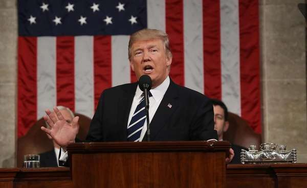 President Donald Trump delivers his first address to