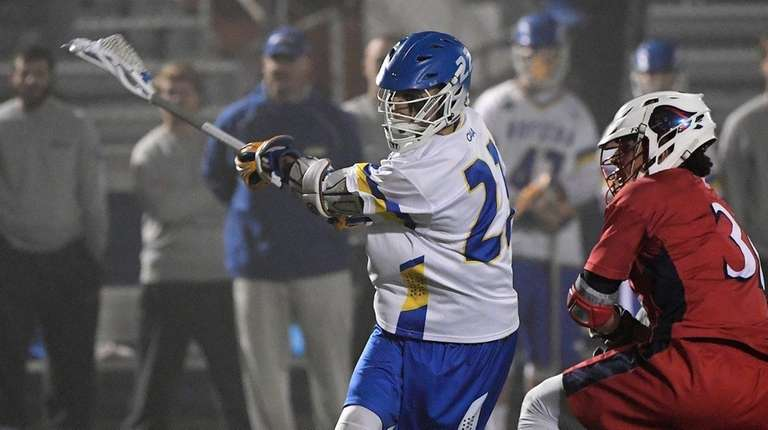 Hofstra attacker Josh Byrne shoots and scores against