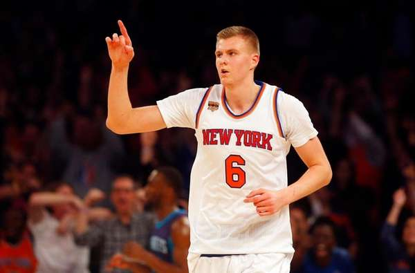 Kristaps Porzingis of the New York Knicks reacts after