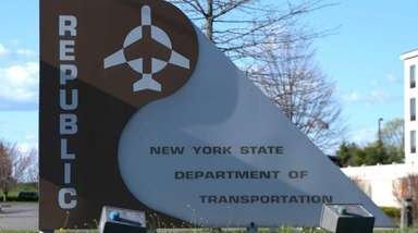 The sign for Republic Airport in East Farmingdale