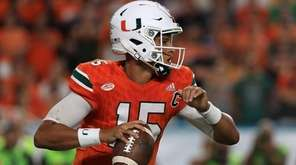 Brad Kaaya of the Miami Hurricanes passes during