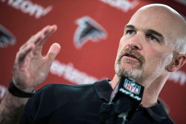 Atlanta Falcons head coach Dan Quinn speaks during