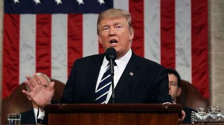 President Donald Trump speaks on Capitol Hill in
