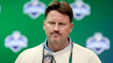 New York Giants coach Ben McAdoo speaks at