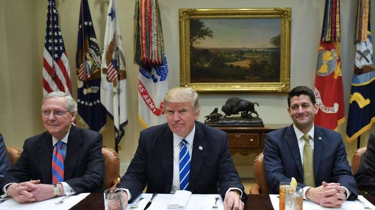 President Donald Trump lunches with Republican Party House