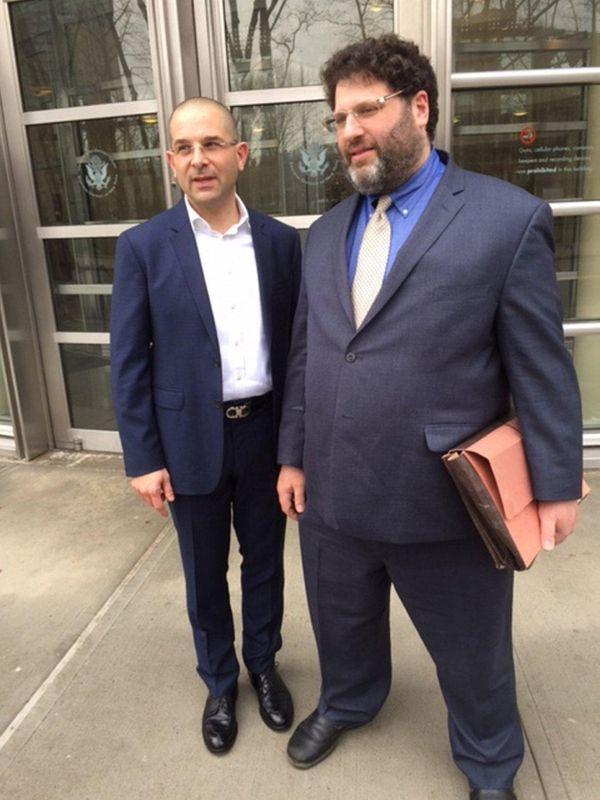 Plaintiff Micah Lakin Avni, left, and his lawyer