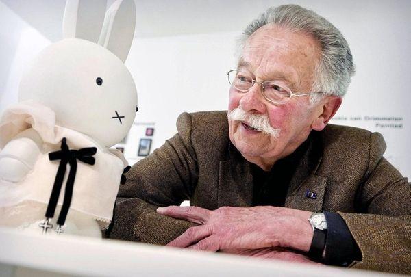 Dutch author and illustrator Dick Bruna poses next