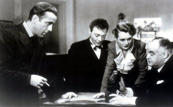 From left, Humphrey Bogart, Peter Lorre, Mary Astor