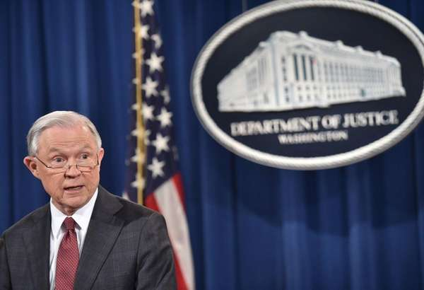 Attorney General Jeff Sessions speaks during a press