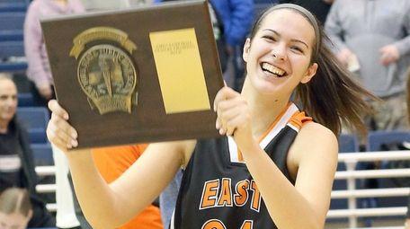 East Rockaway's Alessia Drevnyak holds plaque after 43-42
