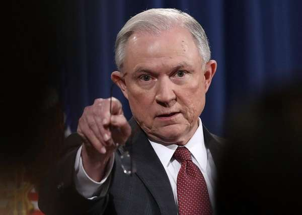 Attorney General Jeff Sessions takes questions during a