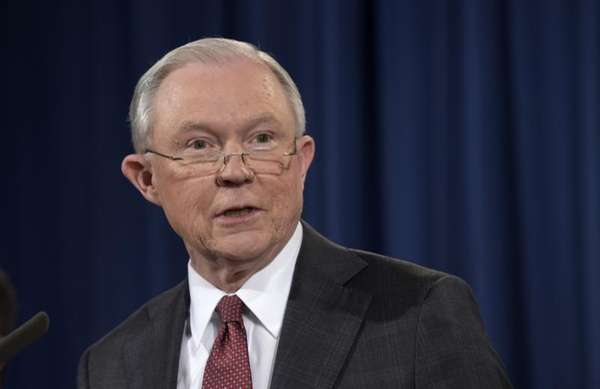 Attorney General Jeff Sessions speaks at the Justice